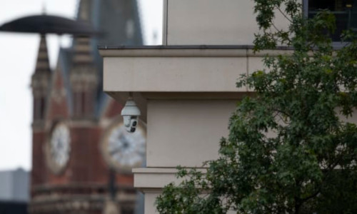 A CCTV camera is seen at King's Cross